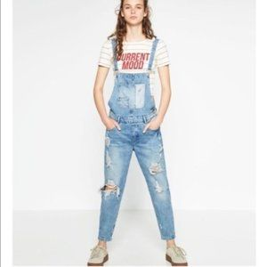 Zara Boyfriend Distressed Denim Overall Size M